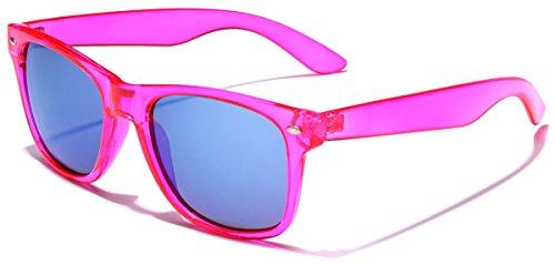 Retro 80's Fashion Sunglasses - Colorful Neon Translucent Frame - Mirrored Lens - (Cheap Accessories Online)