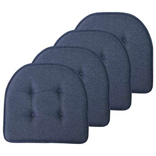 "Sweet Home Collection Chair Cushion Memory Foam Pads Tufted Slip Non Skid Rubber Back U-Shaped 17"" x 16"" Seat Cover, 4 Pack, Denim Blue"