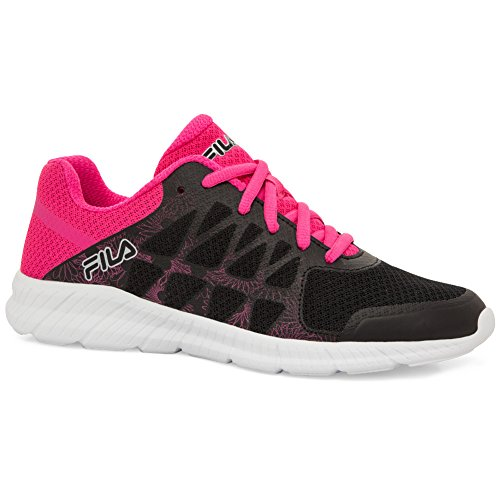 Fila Womens Memory Finity Running Shoe Black, Pink Glo, White