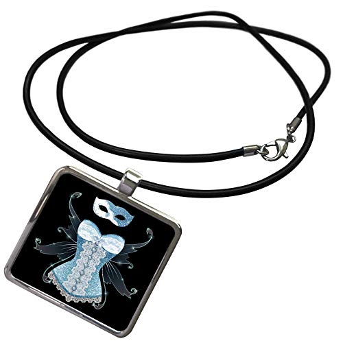 3dRose Anne Marie Baugh - Design - Blue Image of Glitter Corset with Fairy Wings and Masquerade Mask - Necklace with Rectangle Pendant (ncl_316276_1)
