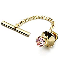 Men's Crystal Tie Tack with Chain Tie Clip