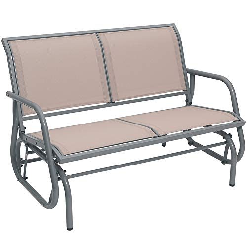 SUPERJARE Outdoor Swing Glider Chair, Patio Bench for 2 Person, Garden Loveseat, Rocking Seating - Light Brown (Porch Dimensions Swing)
