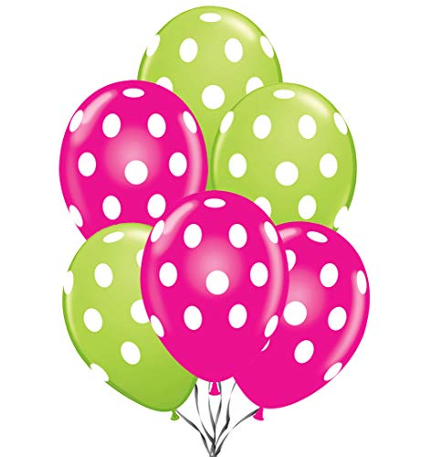 Polka Dot Balloons 11inch Premium Lime Green and Berry Hot Pink with All-Over Print White Dots Pkg/25]()