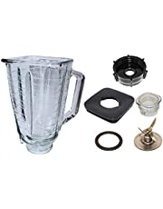 Blendin 5 Cup Square Top Glass Jar Assembly With Blade, Gasket, Base, Lid. Compatible with Oster Blenders