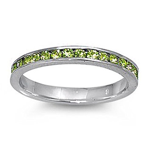 Simulated Peridot Stackable Eternity Wedding Anniversary Band .925 Sterling Silver SIZES 10