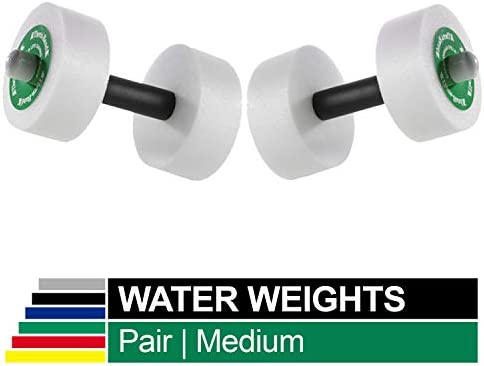 TheraBand Water Weights, Aquatic Dumbbells for Pool Fitness, 2 Foam Weights with Padded Grip for Water Aerobics, Therapy, Workouts, Pool Exercise Equipment, Aqua Training, Red, Light, Beginner