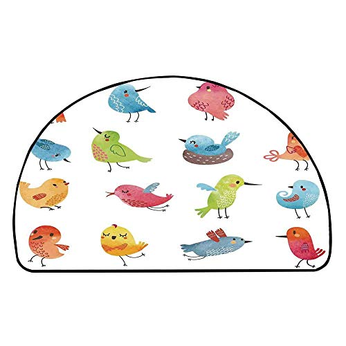 Animal Comfortable Semicircle Mat,Colorful Cute Birds Watercolor Effect Humor Funny Mascots Paint Brush Art Kids Design for Living Room,31.4