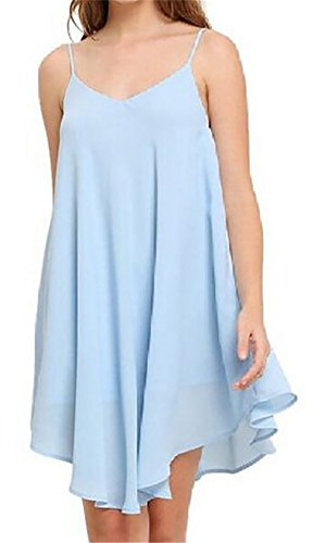 Dresses Womens Domple Chiffon Sleeveless Dress Summer Neck LightBlue V Straps Spaghetti fwqwCz