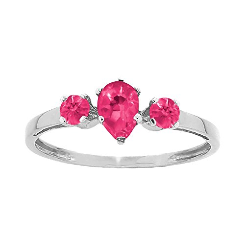 ArtCarved Sunshine Simulated Ruby July Birthstone Ring, Sterling Silver, Size 5 ()