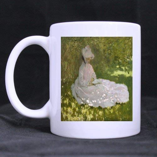 PIHJE mugs New Year/Christmas Day Gifts Artworks Claude Monet Woman Reading Graphic 100% Ceramic 11-Ounce White ()