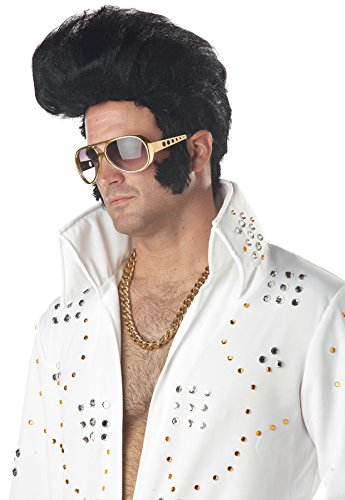 [UHC Rock N Roll Elvis High Pompadour Rockabilly Sideburns Costume Wig Accessory] (Rockabilly Costumes)