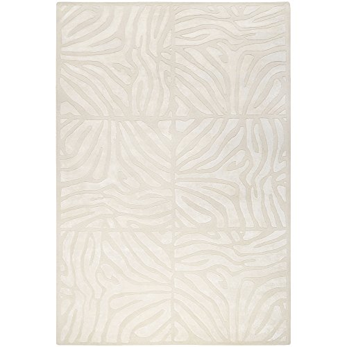 Candice Olson by Surya Modern Classics CAN-1933 Contemporary Hand Tufted 100% New Zealand Wool Winter White 2'6'' x 8' Animal Runner by Surya