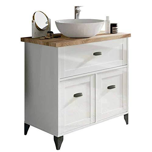Pitarch Mueble bano Vintage Cottage Color Blanco y Cambrian con Lavabo encimera ceramico 82x47 Sin Espejo