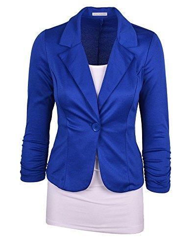 De Pecho Solo Un Mujer Azul La Abrigo Blázer Casual Moollyfox De S 5qg4px