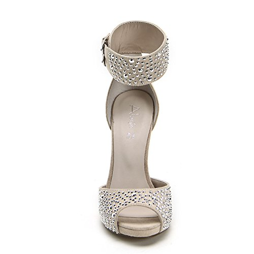 ALESYA by Scarpe&Scarpe - Sandalias altas con banda en el tobillo y estrás Beige
