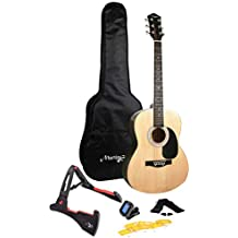 Martin Smith 6 String Acoustic Guitar SuperKit with Stand, Tuner, Gig Bag, Strap, Picks and Strings-Natural