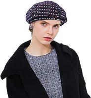 DOCILA Plaid French Beret Hats for Women Soft Cotton Spring Summer Artist/Painter Cap