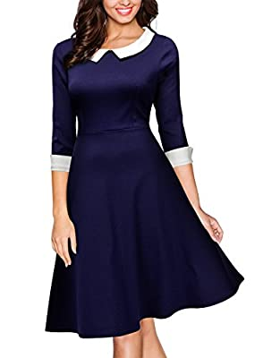 Miusol Women's Formal Polo Neck Navy Style Party Swing Dress