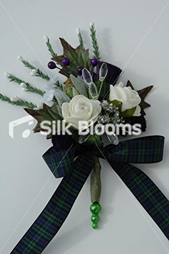 Scottish Black Watch Tartan Rose Heather Thistle Wedding Corsage