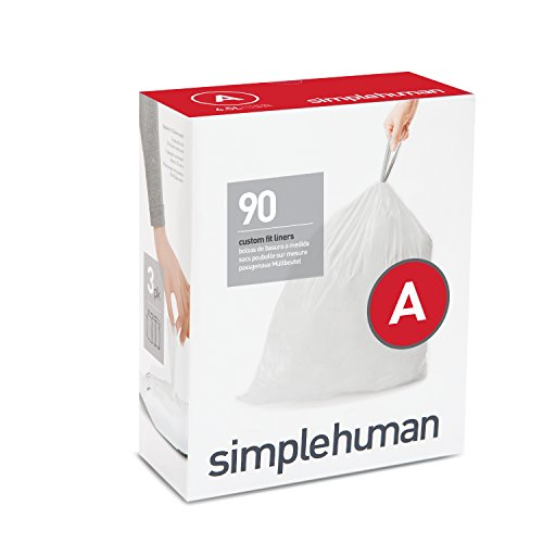 simplehuman Code A Custom Fit Drawstring Trash Bags, 4.5 liters / 1.2 gallons, (90 ()