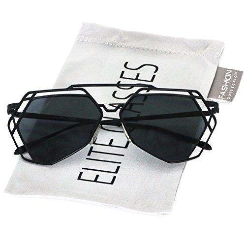 Elite Modern Geometric Metal Frame Colored Mirror Flat Lens Hexagonal - Geometric Sunglasses