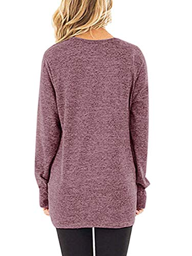 Yidarton Women's Comfy Casual Long Sleeve Side Twist Knotted Tops Blouse Tunic T Shirts(rd,m) Red