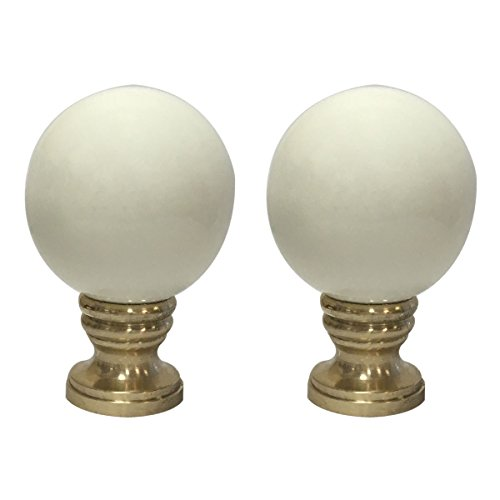- Royal Designs Ceramic Sphere Beige Lamp Finial with Polished Brass Base - Set of 2