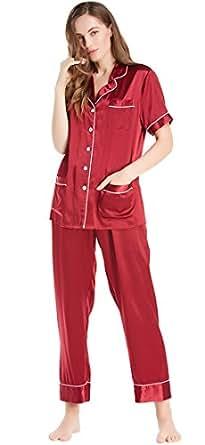 LILYSILK Silk Pajamas for Women 22 momme Short Sleeve Top with Long Pants Elegant Sleepwear Luxury Soft Comfortable Claret 4-6/XS