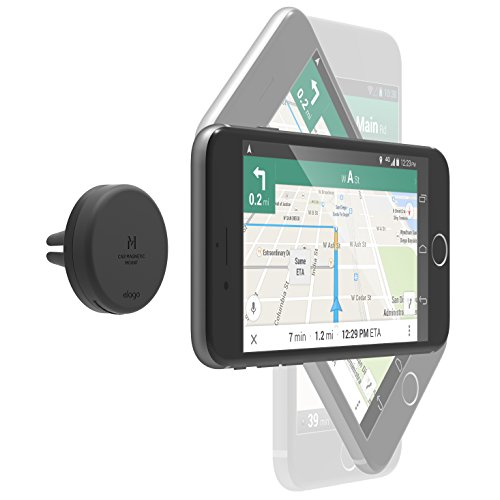 elago Magnetic Car Mount [Black] - [Frustration-Free Install][Compatible with Most Air Vents][2 Large Plates Included] - for all Smartphones