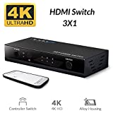 Unnlink HDMI Switch 4K 3 in 1 Out with IR Remote Control Port HDMI Switcher 3 x1 Support Ultra HD 4K@30Hz 1080P 3D for PC, Laptop, PS3, PS4, Nintendo Switch, Xbox, TV Box, Blu-ray Player, Apple TV