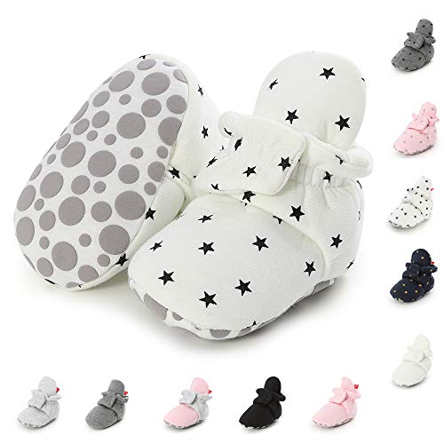 SOFMUO Baby Boys Girls Warm Fleece Booties Stay On Newborn Socks Infant Soft Sole Winter Slippers Non-Skid Cozy Cirb Shoes(Star White,0-6 Months)