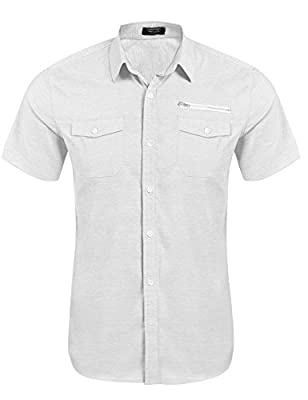 Detailorpin Men's Casual Short-Sleeve Pocket Button Down Oxford Dress Shirt