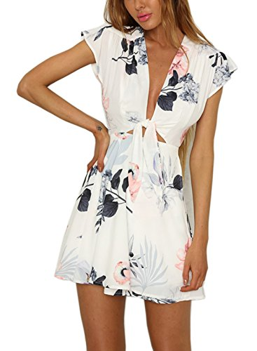 heyinshangmao Women's Sexy V-Neck Short Sleeves Floral Print Hollow Out Party Summer Beach Wrap Short Mini Dress HY01-White-S