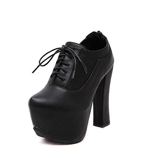L@YC Frauen High Heel Lace Zipper Heavy Bottomed Runde nach Martin Short Stiefel / Schwarz Black