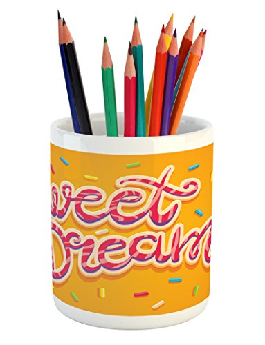 Ambesonne Sweet Dreams Pencil Pen Holder, Hand Drawn Composi