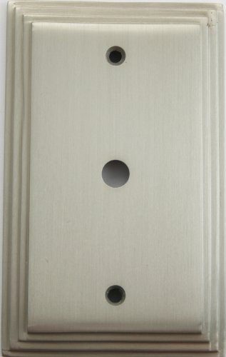 (Satin Nickel Deco Style One Gang Cable TV Wall Plate)