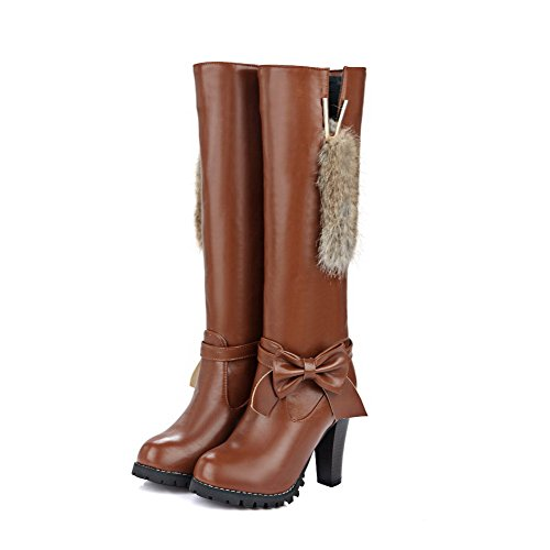 top AgooLar Boots Closed Heels on Pull Women's Brown High Toe Round Solid High yqFcTryRW