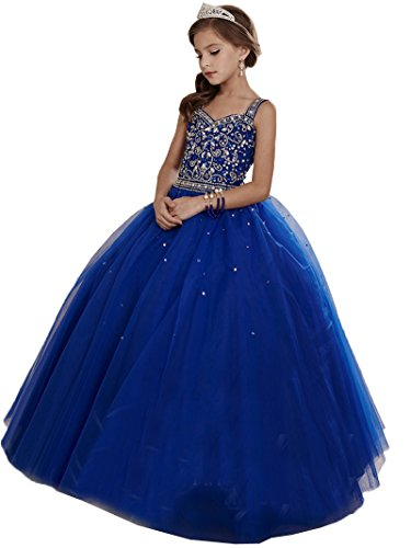 Nicefashion Big Girls Beaded Crystal Pageant Dresses Royal Blue New Year Eve Dress for Kids US10
