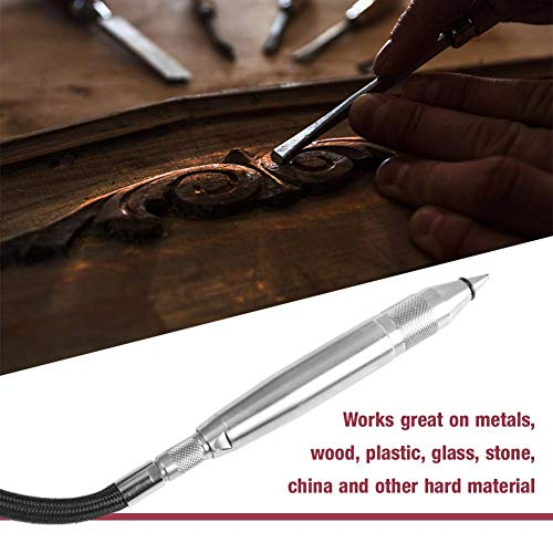 Pneumatic Air Engraving Pen Scribe Hammer Hose Engraving Lettering Tool Pneumatic Lettering Pen Jade Carving Pen for Hard Material