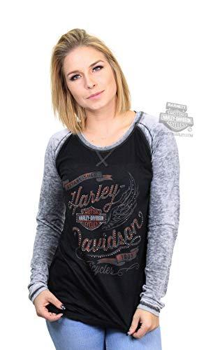 (Harley-Davidson Womens Winger B&S Burnout Raglan Black Long Sleeve T-Shirt (Large))