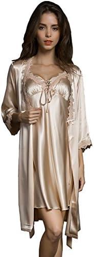 SUNBABY Women Sexy Silk Satin Robe Camisole Pajama Dress 2 Piece Suit Sleepwear Best Gift for Girls