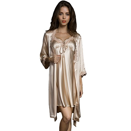 SUNBABY Women Sexy Silk Satin Robe Camisole Pajama Dress Two Piece Suit Sleepwear (L, Champagne)
