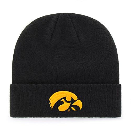 Iowa Hawkeye Gear (NCAA Iowa Hawkeyes OTS Raised Cuff Knit Cap, Black, One Size)