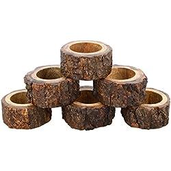 Worldexplorer Handcrafted Rustic Wood Napkin Rings Set of 6 Wedding Party Decoration