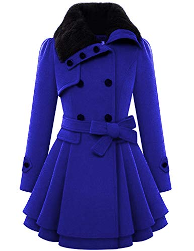 Zeagoo Women Swing Double Breasted Wool Pea Coat with Belt Buckle Spring Mid-Long Long Sleeve Lapel Dresses Outwear