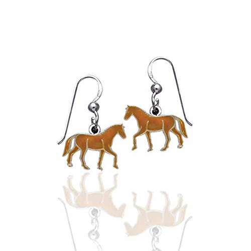 Small Brown Enameled Striding Running Horse Sterling Silver Dangling Hook Earrings