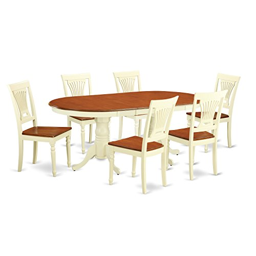 (East West Furniture PLAI7-WHI-W 7-Piece Dining Table Set, Buttermilk/Cherry)