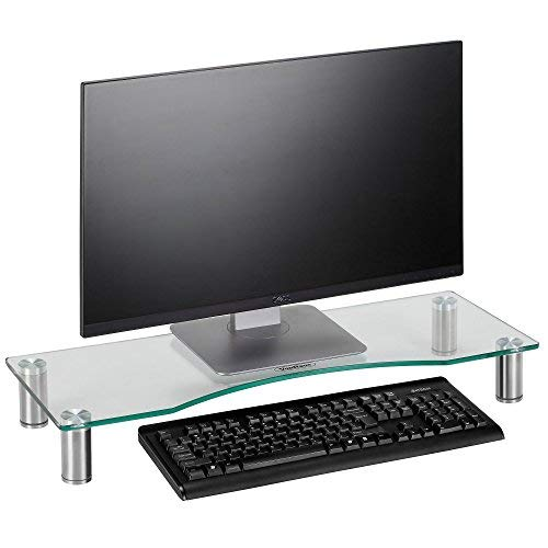 VonHaus Large Curved Glass Monitor Stand - Adjustable Height Multiple Screen Riser for PC Monitors, Computers, Laptops & TVs - 27.5 x 9.5 inches - Clear