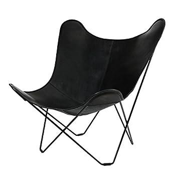 Cuero Leather Mariposa Butterfly Chair Sessel, Schwarz Italienisches Leder  Gestell Schwarz