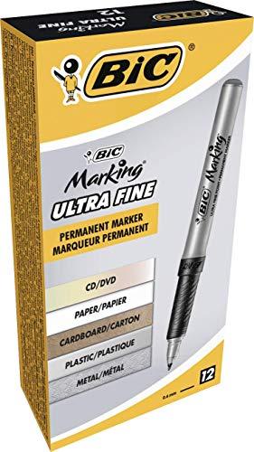 BIC 8290801 Marking Permanent Marker, Fine Point, Black, 12-Count ()
